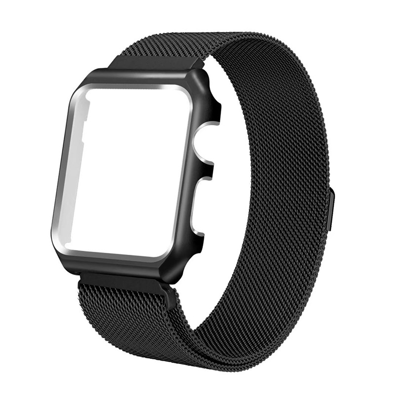 FOHUAS milanese loop frame case for apple watch Series 1 2 band iwatch 38mm 42mm stainless steel metal strap Protect Magnetic цена