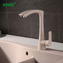 Kinse Art Стиль латунь хром смеситель для кухни длинным носиком из вращения смеситель горячей и холодной воды