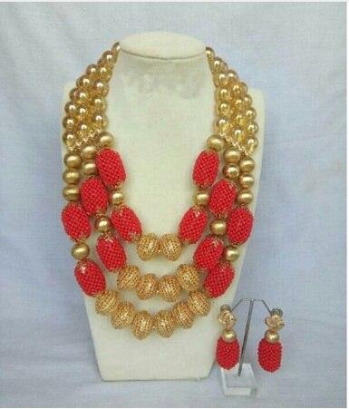 Dubai or Costume femmes déclaration collier ensemble charmes blanc africain mariage perles ensembles de bijoux pour les mariées cadeau d'anniversaire ABH590 - 4