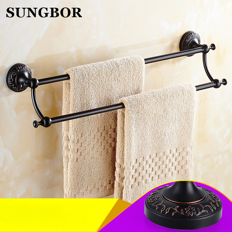 ФОТО Bathroom accessories Black Antique red stone 62cm Double towel bars bathroom towel rack wall mounted antique bathroom towel bars