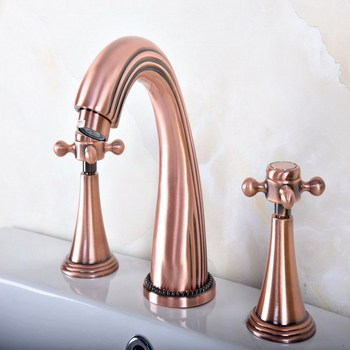 Antique Red Copper Widespread Dual Handle Bathroom Washing Basin Mixer Taps Deck Mounted 3 Holes Lavatory Sink Faucet arg076