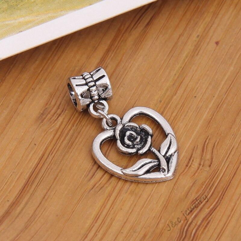 953d74959237 15 unids grande de plata tibetano de la vendimia pulsera del encanto de  Pandora del grano DIY de la flor del corazón para la joyería que hace 28100