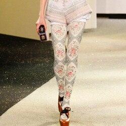 الخراب المرأة الجوارب ضوء رمادي زهرة المطبوعة جوارب طويلة الإناث فتاة الجوارب