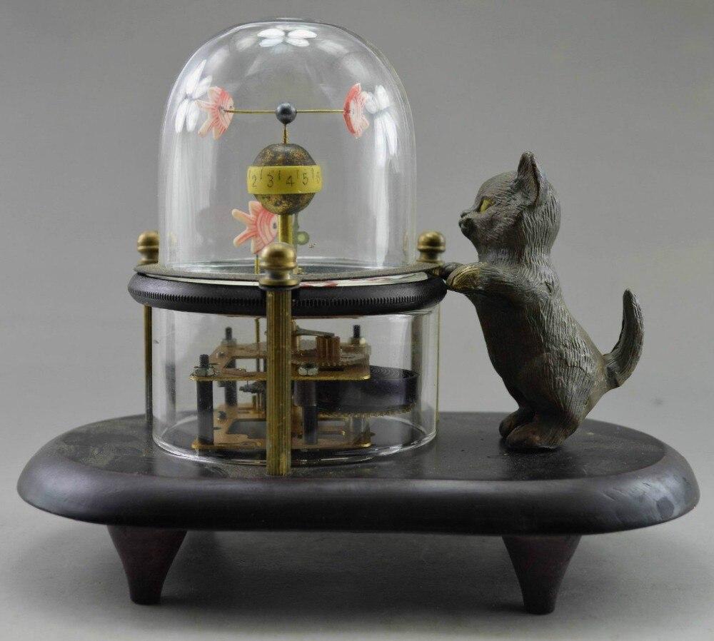 13 chine à collectionner décoré vieux cuivre sculpté chat poisson mécanique horloge de Table RC