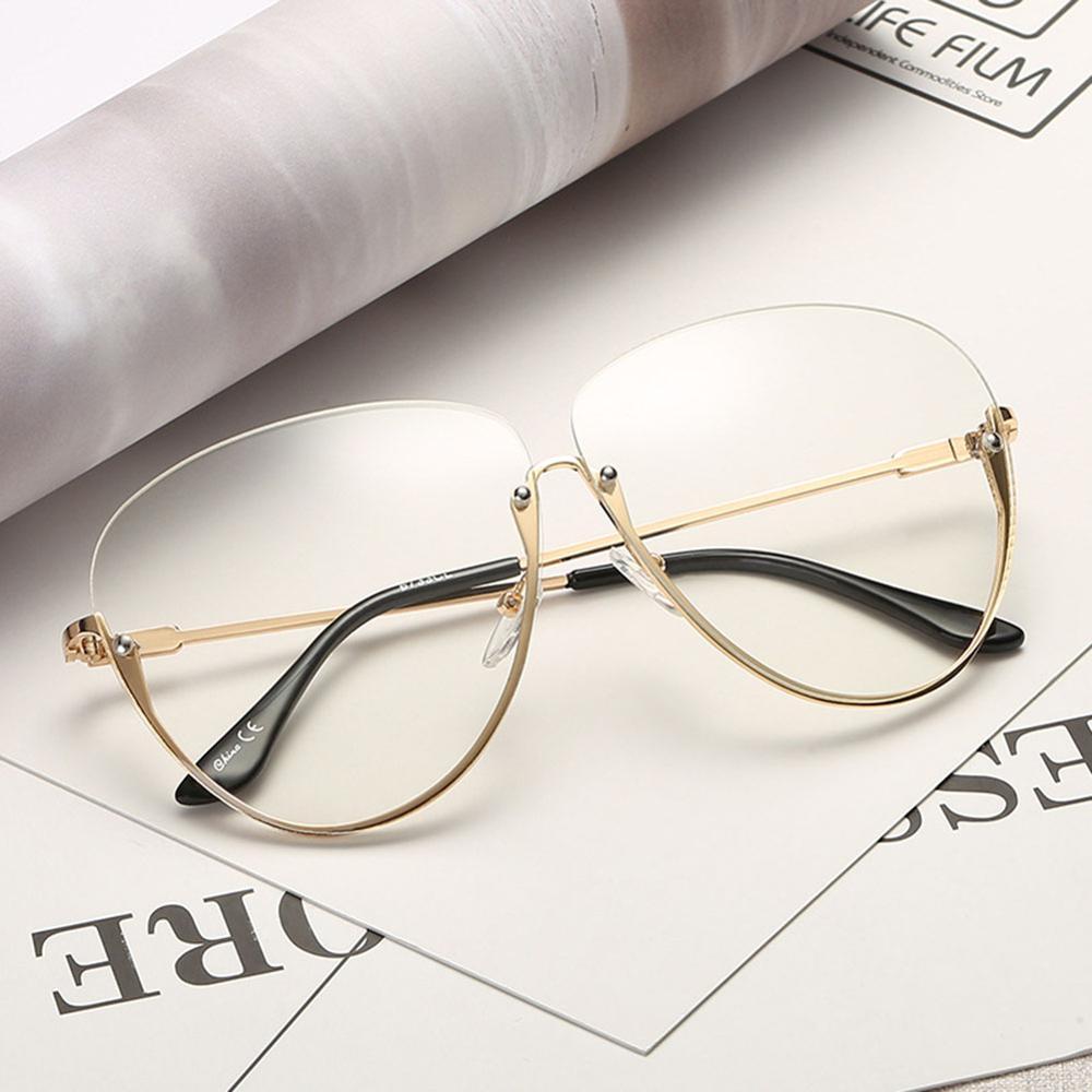 Rimless Cat Eye Women Sunglasses Transparent Fashion Brand Designer Sunglasses Lady Clearly Large Metal Frame UV400 13