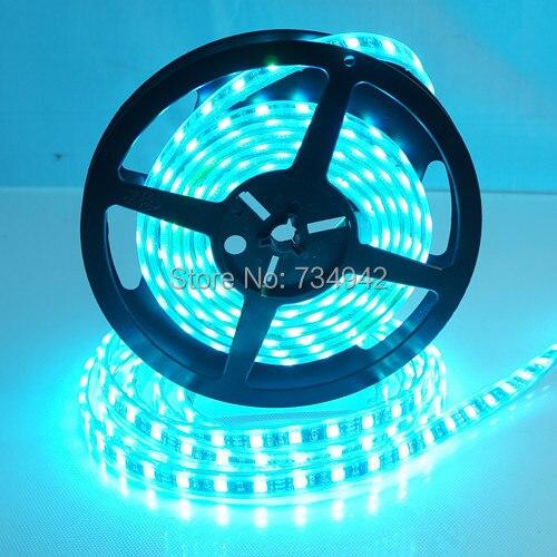 Waterproof-IP68 5 mètres DC 12 V SMD5050 ampoules LED Flexible 60 LED s par mètre, blanc, rouge, vert, bleu, jaune, RGB, fond noir