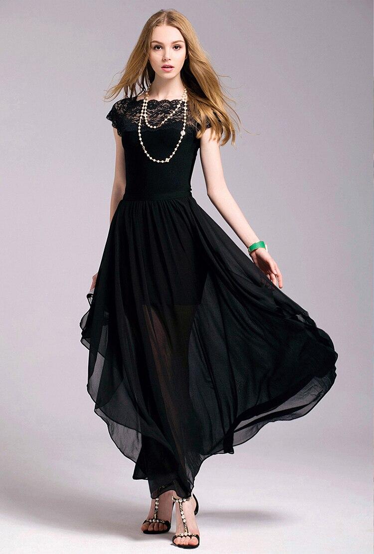 Black dress korean - Plus Size Women Clothing Dress 2016 Summer Style Korean Bohemian Beach Evening Party Black Lace Dress