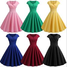 2019 New Hot Sale Womens V-neck Solid Color Short-sleeved Large Swing Vintage Dress Casual Sleeveless Natural V-Neck