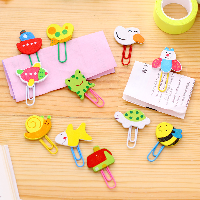 Fashion Beautiful Cartoon Painted Wood Bookmark Planner Paper Clips Metal Bookmarks For Book Stationery School Office Supplies