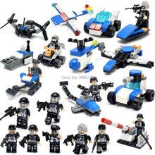 hot compatible LegoINGlys mini military SWAT super police figures 12 in 1 Deformation robot Mech Building Blocks brick toys gift(China)