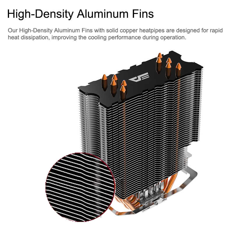 Aigo 5 Heatpipes CPU Kühler Kühler Led RGB TDP 280W Kühlkörper AMD Intel Stille 120mm 4Pin PC CPU Kühlung Kühler Kühlkörper Fan