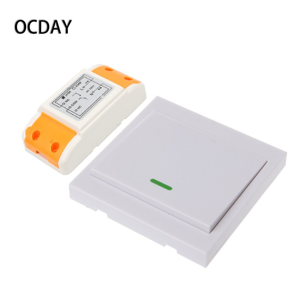AC 220V 1CH RF Wireless Remote Control Switch 1 Receiver Module + 3 Wall Panel Remote Control Transmitter Kit ac 220 v 1ch wireless remote control switch system receiver wall panel remote transmitter sticky remote smart home switch
