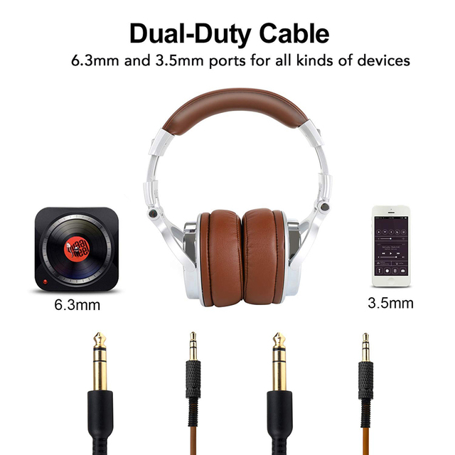 Oneodio Professional Studio DJ Headphones With Microphone Over Ear Wired HiFi Monitors Headset Foldable Gaming Earphone For PC 2