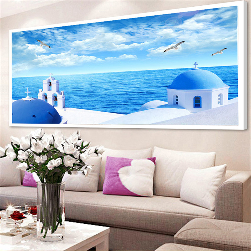 5D DIY Diamond embroidery seaside Landscape pictures Home Decor Mosaic Full Resin round rhinestones needlework sea Painting