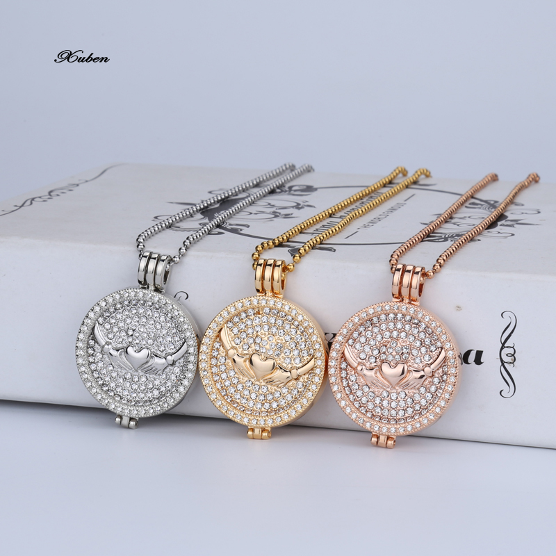 my coin necklace set 33mm disc rhinestone crystal fashion women fit 35mm coins holder 80cm stainless steel bead chain love gift