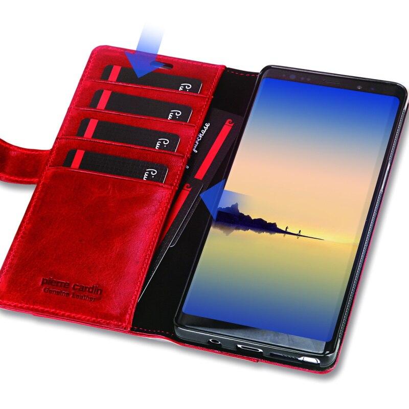 Pierre Cardin En Cuir Véritable Livre Magnétique Flip étui pour samsung Galaxy Note 8 Luxe Étui Portefeuille porte-carte Téléphone Funda - 4