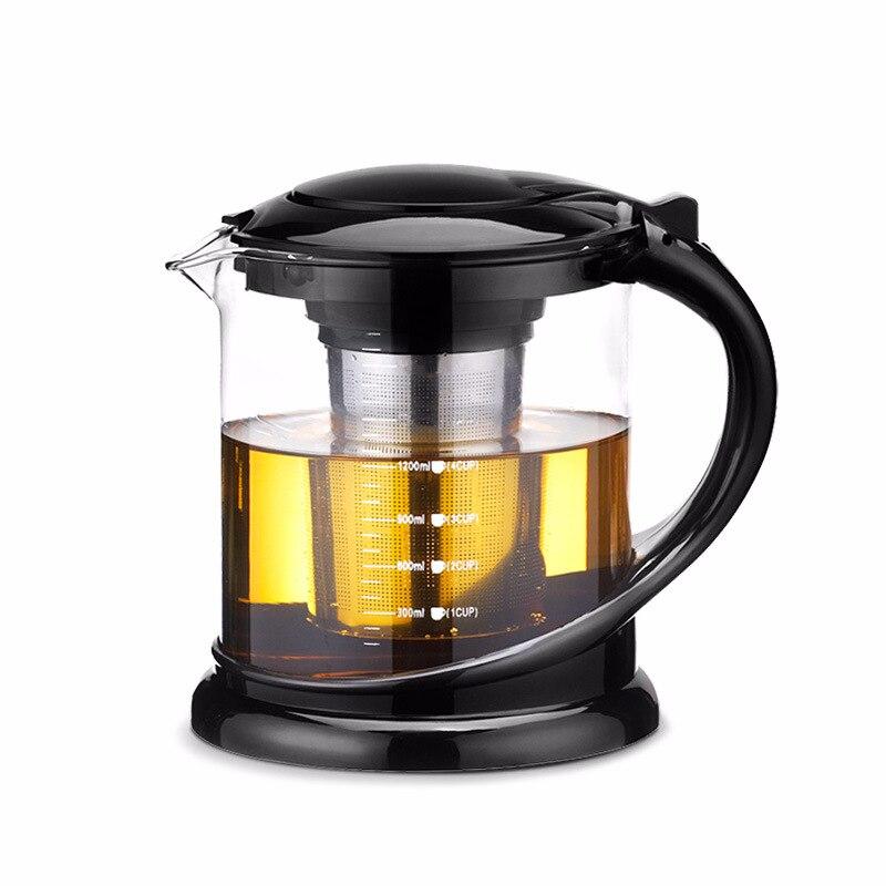 1800 ml grand verre de thé pot pour puer thé oolong avec boule à thé en acier inoxydable bouilloire récipient chauffé théières