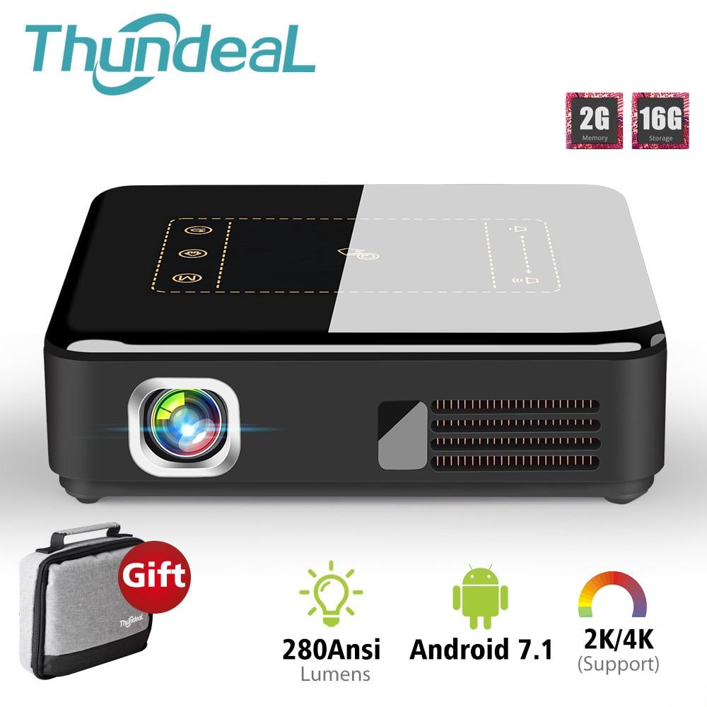 ThundeaL Android 7.1 projecteur T20 Pico DLP 3D projecteur LED TouchPad WiFi Bluetooth Mini Support 4 K Beamer batterie Home cinéma