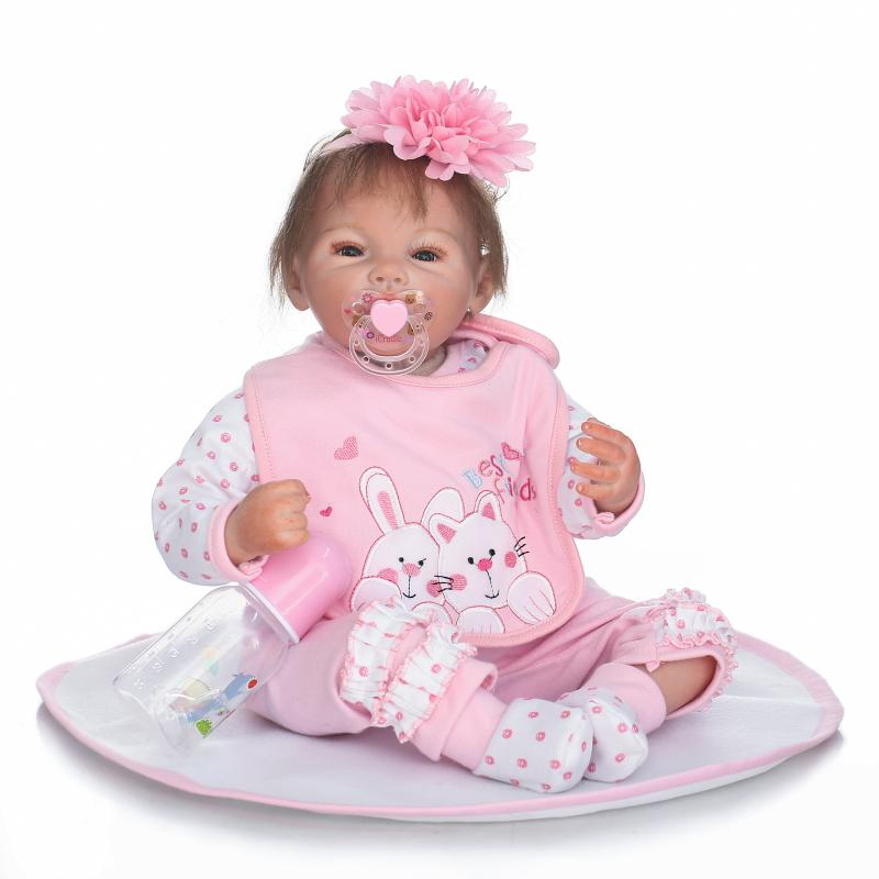 22 Inch 55cm Soft Silicone Handmade Reborn Baby Girl Dolls Realistic Looking Newborn Baby Doll Toddler