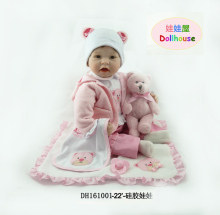 55 cm children silicone doll playmates rebirth gift for girl 22 inches baby alive bouquet silicone doll bibi rebirth