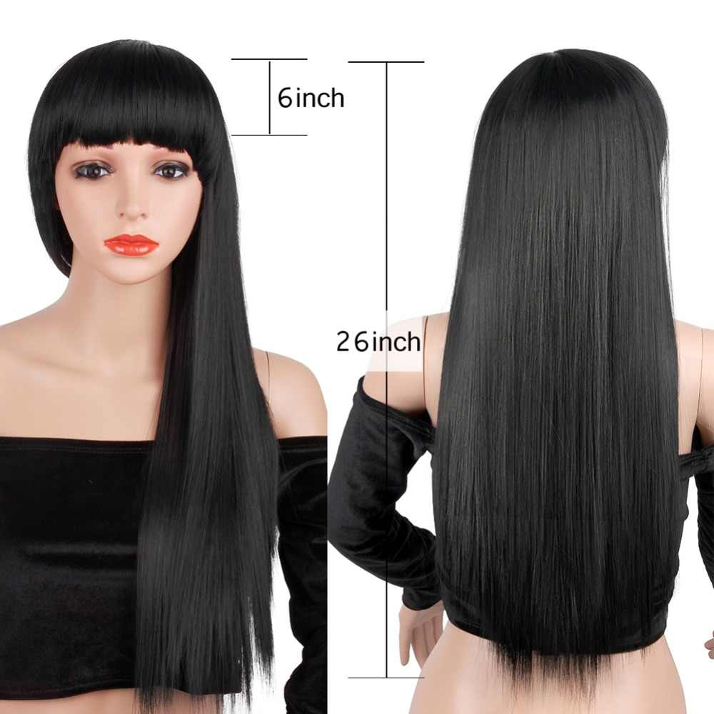 b1ac1273c Pageup 26 inch Long Straight Black Wig Hairstyles Heat Resistant Synthetic  Wigs For African American Women