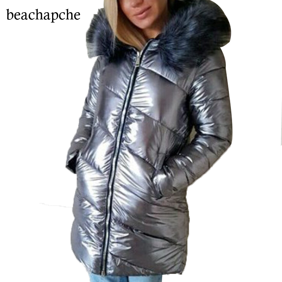 2017 new parka Silver pu coat  Hooded thick Outerwear Bright metallic color warm parkas nike alliance parka 550 hooded