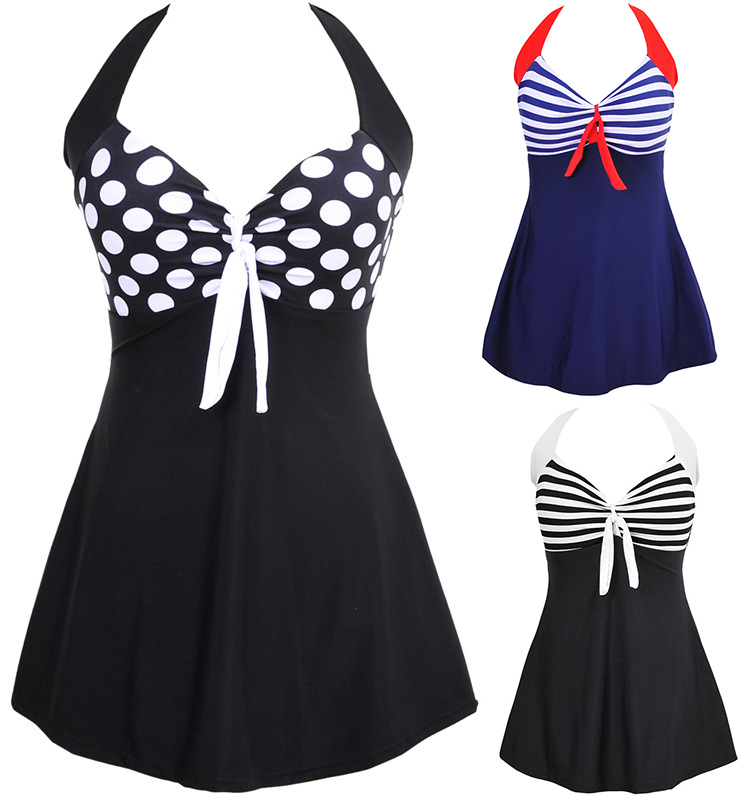 Sexy Stripe Padded Halter Skirt Swimwear Women One Piece Swimsuit Beachwear  Bathing suit Swimwear dress Plus size M~5XL