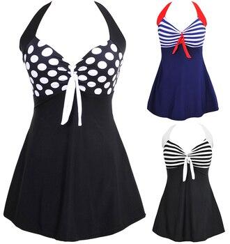 Sexy Stripe Padded Halter Skirt Swimwear Women One Piece Swimsuit Beachwear  Bathing suit Swimwear dress Plus size M~5XL