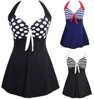 Sexy Stripe Padded Halter Skirt Swimwear Women One Piece Swimsuit Beachwear Bathing Suit Swimwear Dress Plus