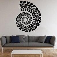 Trail Tire Track Sticker Graphic Conch Wall Art Vinyl Pattern Decal Decor School Dorm Living Room Bedroom Home Mural Stencil