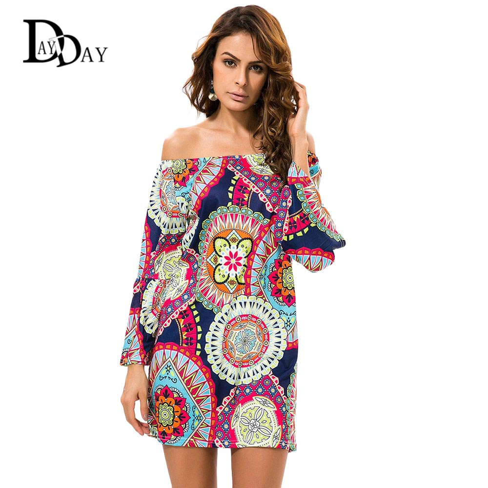 Buy Cheap 2016 Summer Women Casual Off Shoulder Dress Bohemian Tropical Flower Print Vintage Mini Beach Party Dress C147