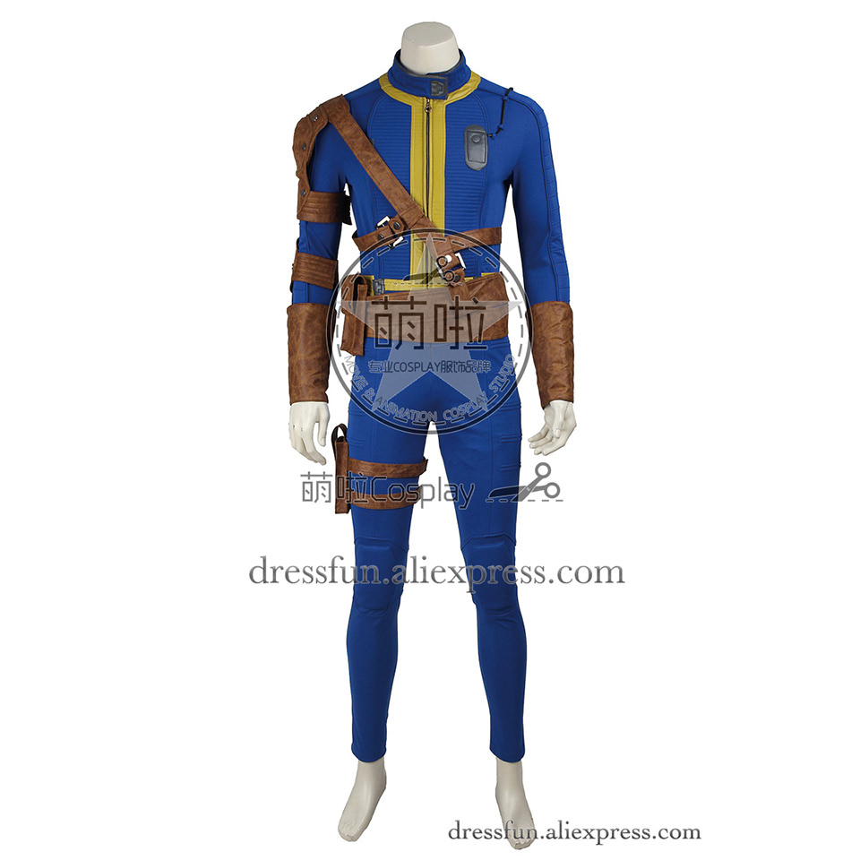 Fallout 4 Far Harbor Cosplay Costume Vault Boy 111 Costume Blue Jumpsuit Outfits Full Set Uniform Halloween Fast Shipping