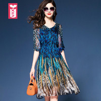 High End Formal Office Party Holiday Womens Peacock Color Elastic Tunic Dresses Femme Silk Chiffon A