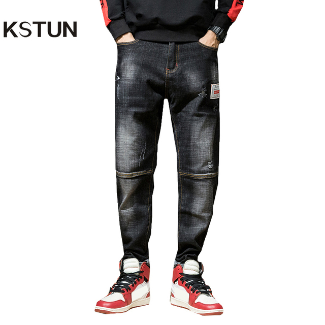 408162fa2b4d KSTUN Ripped Jeans for Men Haren Pants Loose Wide Leg 100% Cotton  Streetwear Hiphop Mens Jeans Black 2018 Clothes Large Size 42