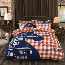 2018The new On sale Bedding Set  Duvet Cover Marine Animal Home Textiles 3-Piece Cartoon Blue and White Bedclothes
