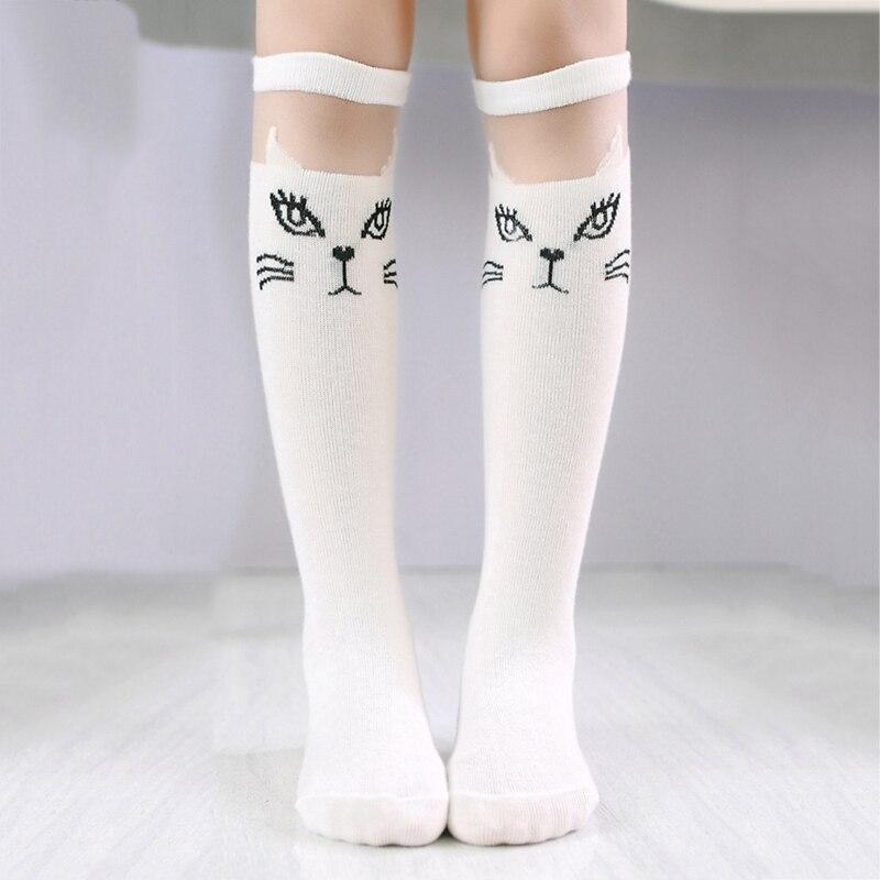 Cute Cartoon Children Socks Lovely Cat For Baby Girls Children Knee High Socks Print Animal Long Over Knee Socks