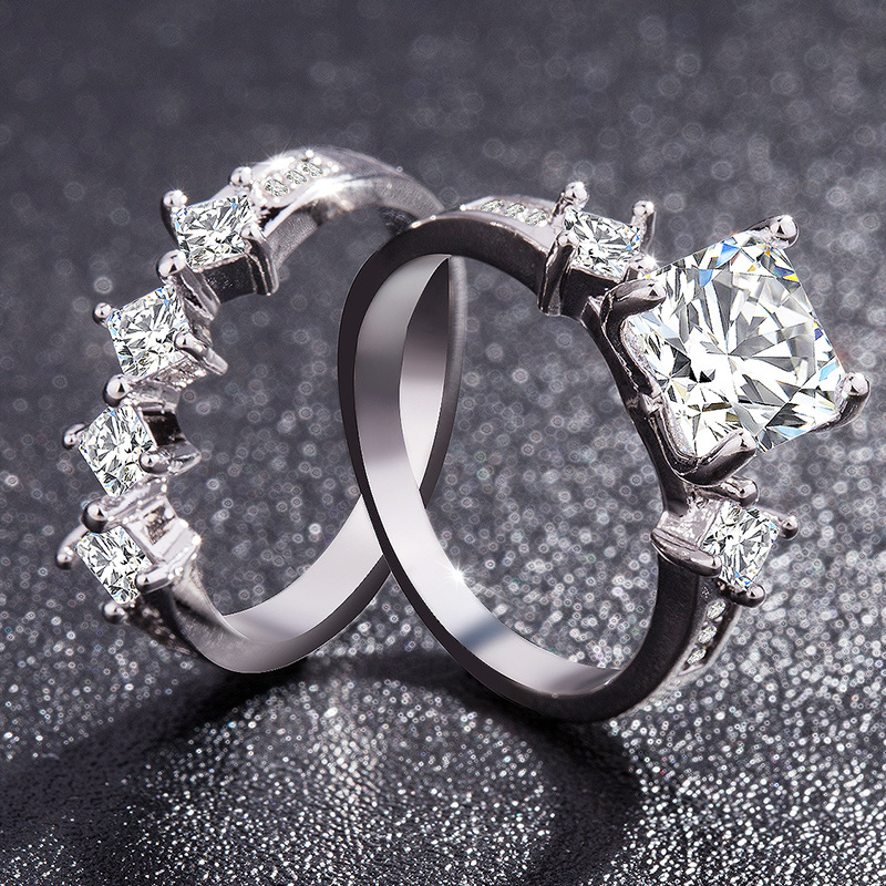 1x Lady Wedding Rings Engagement Ring Silver Crystal Jewelry Size 6-CP