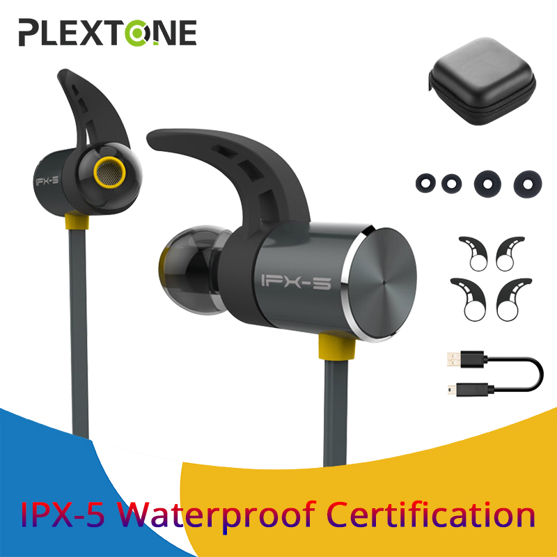PLEXTONE IPX5 Waterproof Bluetooth Earphone Wireless Headset Wireless Bluetooth Earphones Sport Running With Microphone jabees beating wireless bluetooth 4 1 sports earphone ipx4 waterproof sport running sweatproof headset with microphone