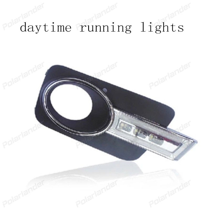 1 set auto part  LED Day Driving Lamp Daytime Running Lights DRL For V/olkswagen T/iguan 2010 2011 2012 drl daytime running lights for audi a4 b8 2009 2010 2011 2012 auto led day driving lamp with fog lamp hole free shipping