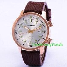 44.5mm DEBERT White Luminous Dial Relojes Double Crowns Miyota Movement Mens Automatic Watches Rubber Straps WristWatch