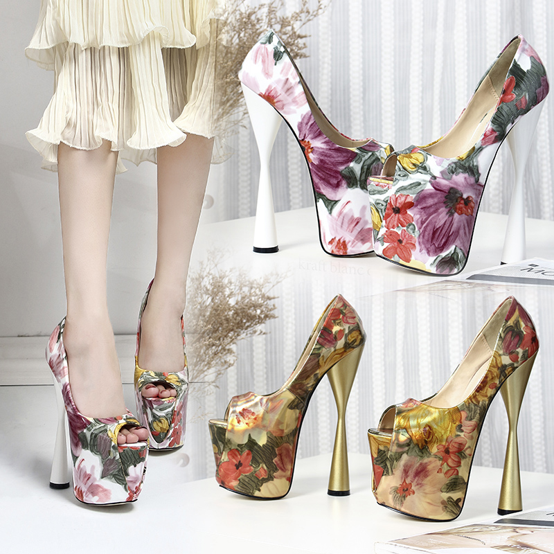 Sexy Women Sandals Summer Thick Heel 20cm Ladies Platform Sandal Leather Flower 43 Size Wedge Party Women 39 s Shoes Large Size in Women 39 s Pumps from Shoes