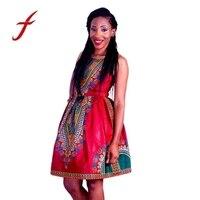 Abiti 2017 Vestito Casuale Delle Donne Tradizionale Stampa African Dashiki Vestito Aderente Sexy delle Donne Fasciatura Della Boemia Vestito Dalla Stampa