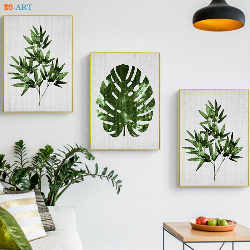 Nordic Bamboo Leaf Prints Tropical Plant Wall Art Large ...