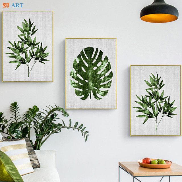 Nordic Bamboo Leaf Prints Tropical Plant Wall Art Large Poster Green ...