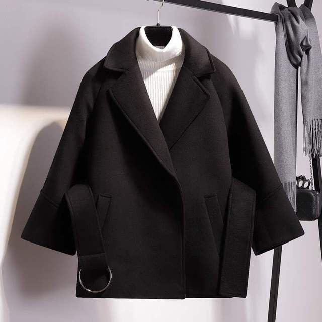 Women Short Woolen Coat Belt Jacket 2