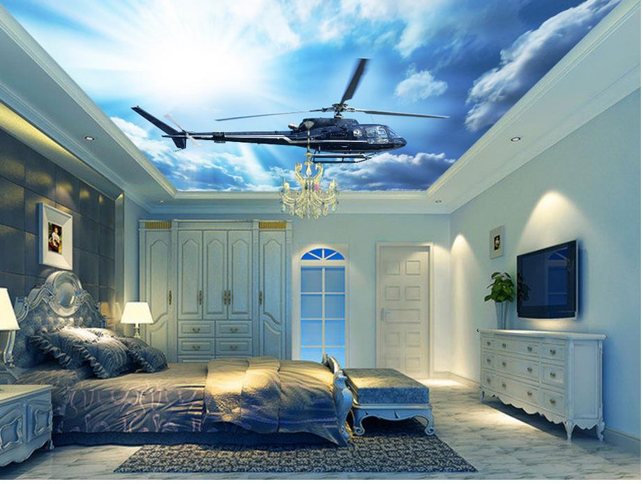 3d Effect Wallpaper For Living Room Stereoscopic 3d Wallpaper Blue Sky And Cloud Ceiling Plane