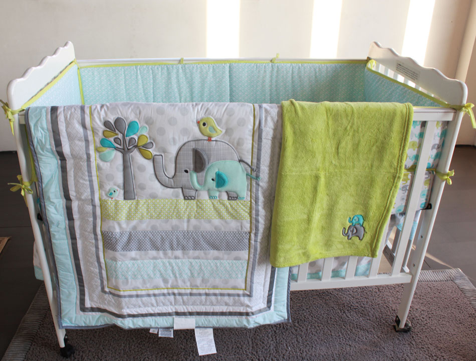 8 Pieces Baby Bedding Set Embroidery Elephant Bird Crib Include Quilt Bed Skirt Per Blanket Ed