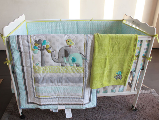 8 Pieces Baby Bedding Set Embroidery Elephant Bird Crib Include Quilt Bed