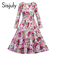 Sisjuly Vintage Dress Autumn Retro Floral Print 1950s Style Elegant O Neck Party Long Sleeve Pink