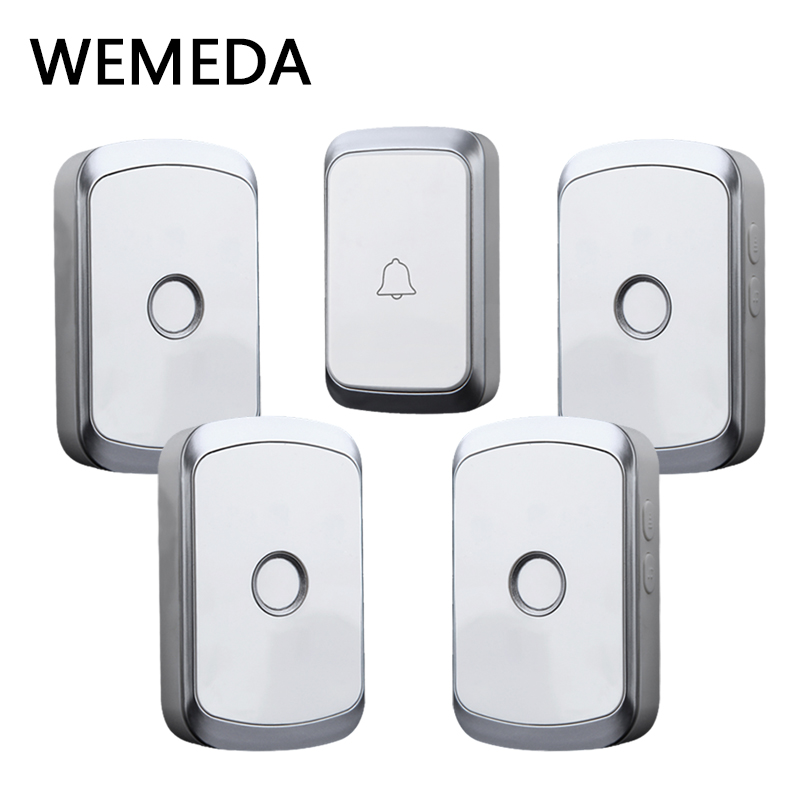 WEMEDA Smart Wireless Doorbell Waterproof Digital Push Button 300M Remote Household Call Bell 36 Songs US EU UK Plug AC 110-220V wireless cordless digital doorbell remote door bell chime waterproof eu us uk au plug 110 220v